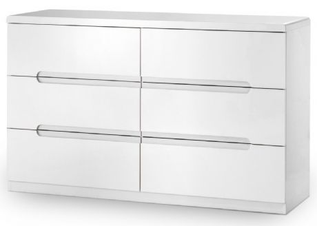 Manhattan White High Gloss 6 Drawer Chest by Julian Bowen Sale Now on at Your Price Furniture